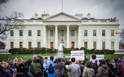 Activists with HIAS gather in front of the White House to share stories of their family members who were refugees or immigrants, March 1, 2017. Courtesy of Ted Eytan
