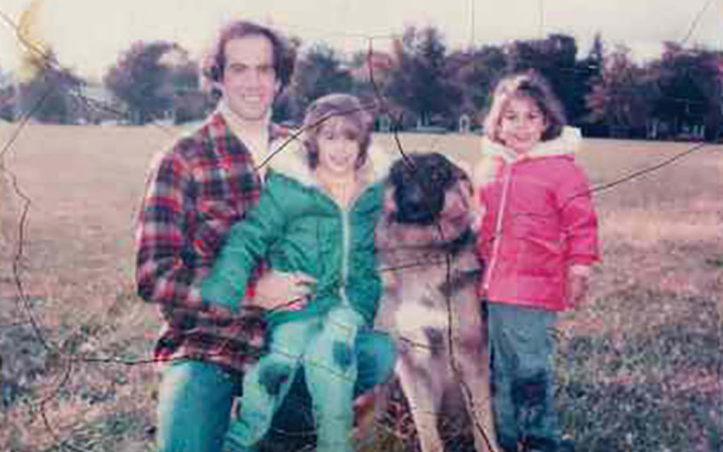 Joselin Linder, right, as a child with her father, who died at 49, sister and the family dog. Courtesy of Joselin Linder.
