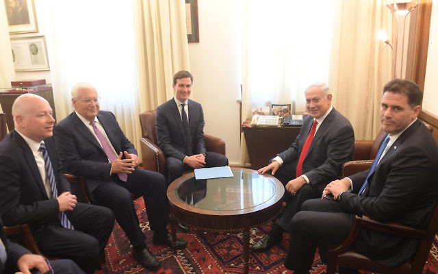 In this handout photo provided by the Israel Government Press Office (GPO), Israel's Prime Minister Benjamin Netanyahu meets with Jared Kushner on June 21, 2017 in Jerusalem, Israel. JTA