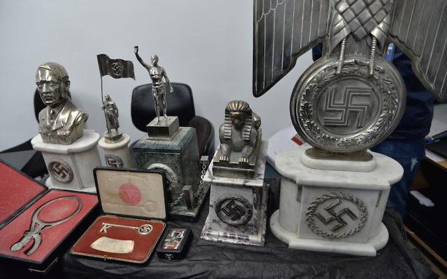 Some of the Nazi-era objects discovered by Argentine police. (Leonardo Kremenchuzky/DAIA)