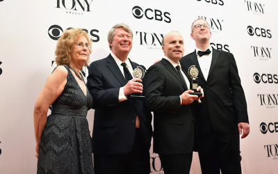 """Oslo"" writer J.T. Rogers, second from right, at the 2017 Tony Awards in New York City, June 11, 2017. (Mike Coppola/Getty Images for Tony Awards Productions)"