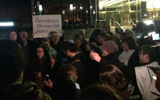 A group of rabbis protesting outside of Trump Tower in New York City, Feb. 6, 2017. JTA