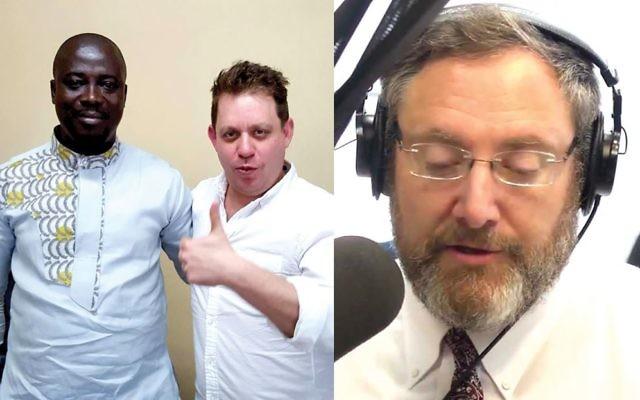Radio daze: Radio host Nachum Segal, below, and ZenoRadio's Baruch Herzfeld, left (with a radio broadcaster in Ghana). YouTube