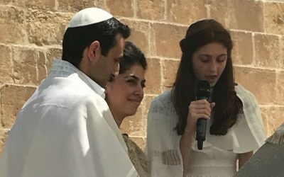 Sienna Nazarian and her family at her bat mitzvah, which took place at the Tower of David. Courtesy of the Nazarian Family