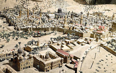 The Temple's absence: One of the models of Jerusalem on display at the Tower of David.