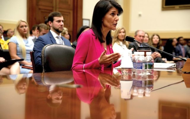 U.S. Ambassador to the United Nations Nikki Haley testifying last month during a hearing before the House Foreign Affairs Committee on Capitol Hill. Getty Images