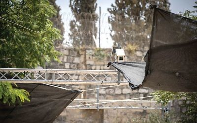 View of a new security camera that was placed this week near metal detectors at the entrance to the Temple Mount in Jerusalem's Old City.  Yonatan Sindel/Flash90