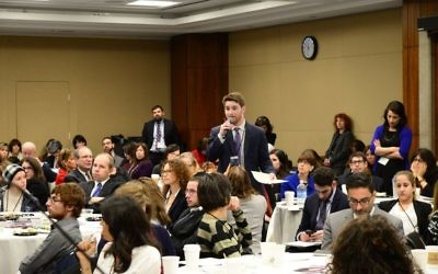 Adam Fishbein speaking at Jewish Disability Advocacy Day. Courtesy of Geoffrey Melada