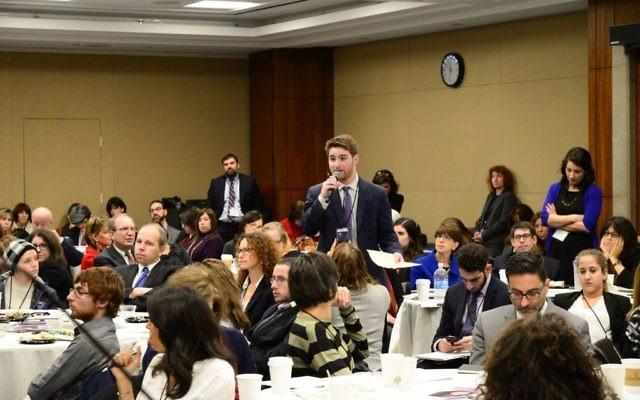 Adam Fishbein speaking at Jewish Disability Advocacy Day. Courtesy of Geoffrey Melada