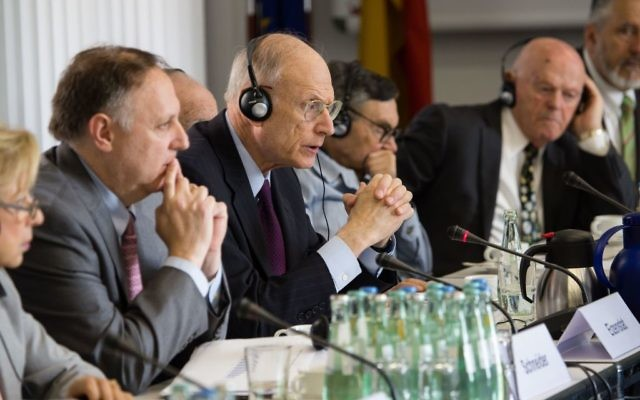 L-R: Ambassador Collete Avital; Greg Schneider, Claims Conference EVP; Ambassador Eizenstat. Courtesy of Claims Conference/Marco Limberg