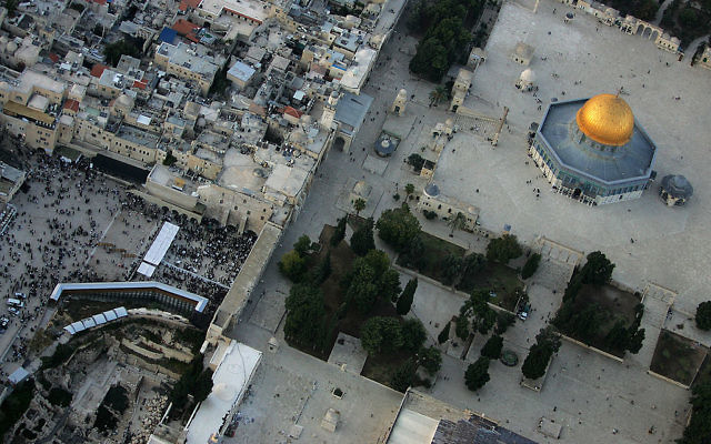 An aerial view of the Dome of the Rock on the Temple Mount and the Western Wall Plaza. The Temple Mount was closed to visitors following an attack last week that killed two Israeli policeman. It has now been reopened. Getty Images