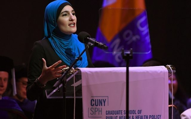 Linda Sarsour, co-organizer of the National Womens March and one of TIME Magazines 100 Most Influential People speaks the keynote speaker at the CUNY Graduate School of Public Healths inaugural commencement ceremony June 1, 2017 at the Apollo Theatre in Harlem. / AFP PHOTO / TIMOTHY A. CLARY        (Photo credit should read TIMOTHY A. CLARY/AFP/Getty Images)