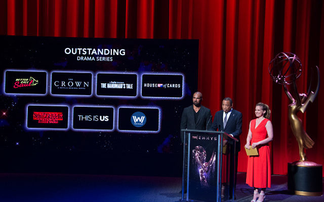 Actors Shemar Moore (L) and Anna Chlumsky present the Emmy nominees for Outstanding Drama Series  at the Television Academy, on July 13, 2017, in Los Angeles, California. Getty Images