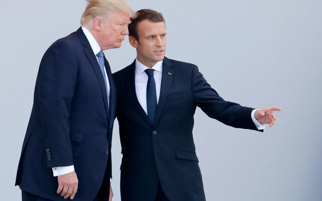 U.S President Donald Trump and French President Emmanuel Macron attend the traditional Bastille day military parade on the Champs-Elysees on July 14, 2017 in Paris France. Getty Images