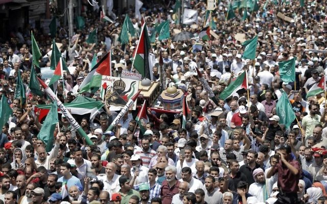 Jordanians protest over new Temple Mount security measures on July 21, 2017 in Amman, Jordan. Tensions have escalated after an Israeli security guard at the Israeli embassy in Jordan shot and killed a teenage assailant and a bystander after he was attacked. Getty Images