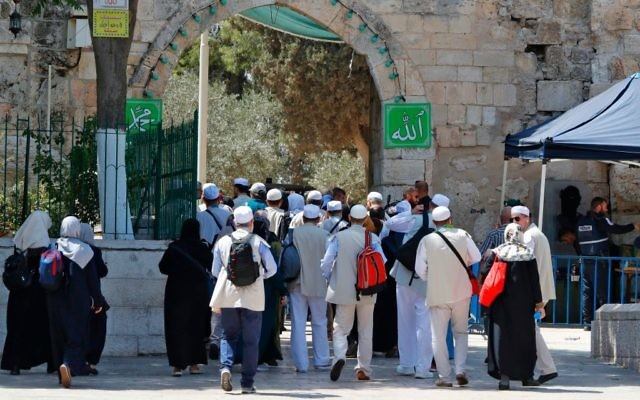 A group of Turkish Muslim worshippers enter the Temple Mount compound in Jerusalem's old city on July 28, 2017. Getty Images