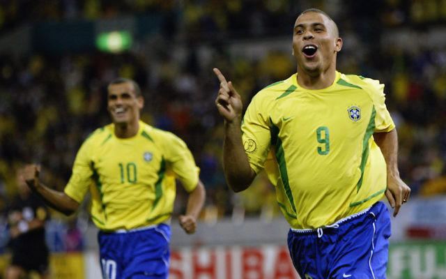 Ronaldo, right, after scoring a goal in a 2002 World Cup game between his Brazil team and Turkey played in Japan, June 26, 2002. (Alex Livesey/Getty Images)