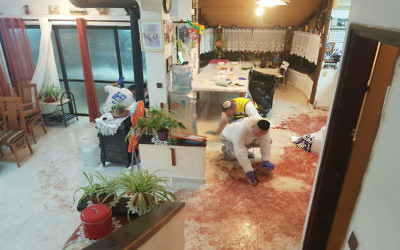 The scene of the stabbing attack in the Halamish settlement in the West Bank, that killed 3 and injured one. JTA