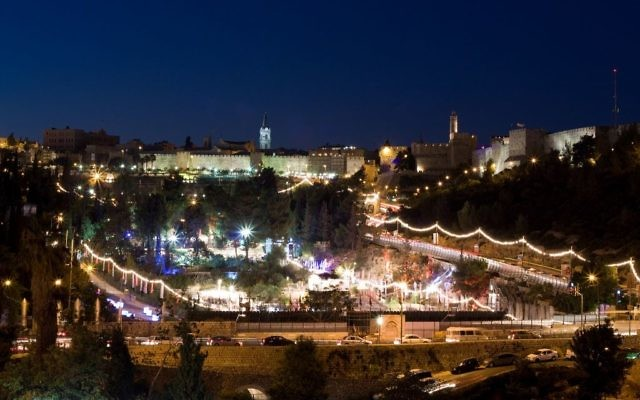 Jerusalem lit up for the Hutzot Hayotzer festival. Wikimedia Commons/Ori
