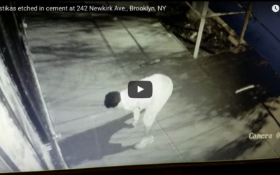 Vandal carves 30 swastikas into wet concrete in Brooklyn. Screenshot/Youtube