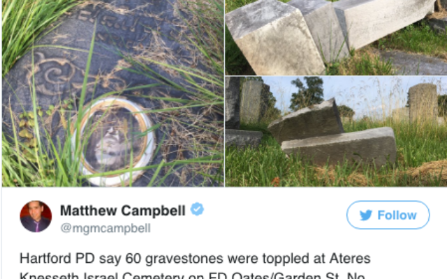 60 headstones were toppled at Ateres Knesseth Israel Cemetery, a Jewish cemetery in Hartford, Conn. Screenshot Twitter/Matthew Campbell