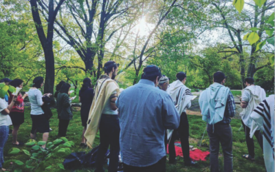 A minyan founded by Ron Shapiro meets in Central Park on Yom Ha'Atzamaut. Courtesy of on Ron Shapiro