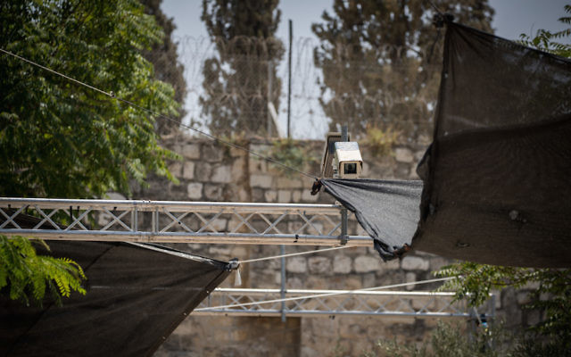 View of a new security camera that was placed near metal detectors at the entrance to the Temple Mount in the Lion's Gate, in Jerusalem's Old City, July 23, 2017. (Yonatan Sindel/Flash90)