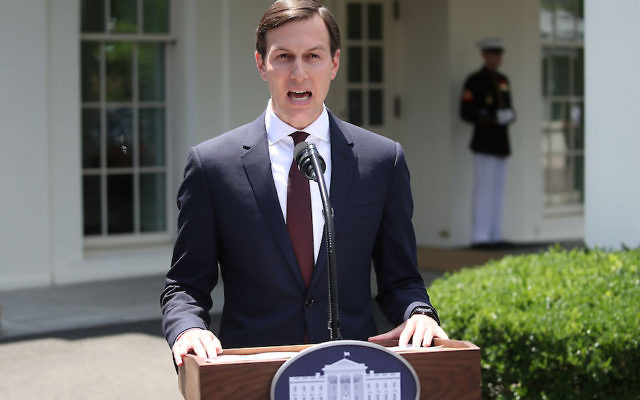 Jared Kushner reading a statement at the White House after testifying behind closed doors to the Senate Intelligence Committee, July 24, 2017. (Mark Wilson/Getty Images)