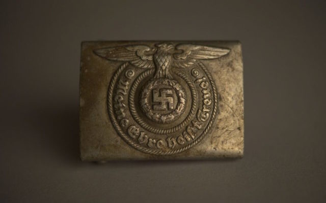 A buckle from an SS officer's belt is in the collection of the Auschwitz-Birkenau State Museum in Poland. (Pawel Sawicki)
