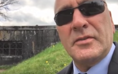 Rep. Clay Higgins speaking in a July 1 2017 YouTube video he posted at Auschwitz. JTA