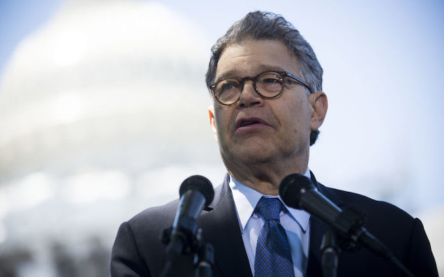 Al Franken at a news conference dubbed #WeThePeople outside the Capitol on June 9, 2016 in Washington, D.C. He announced his resignation last week following allegations of sexual misconduct. Getty Images