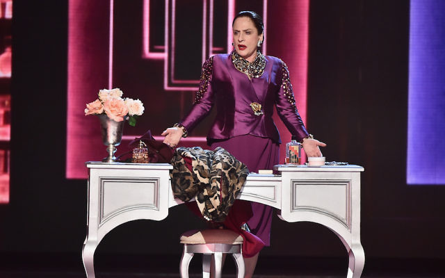 """Patti LuPone, in her role as the cosmetics mogul Helena Rubinstein in the Broadway musical """"War Paint,"""" performing at the Tony Awards in New York City, June 11, 2017. (Theo Wargo/Getty Images for Tony Awards Productions)"""
