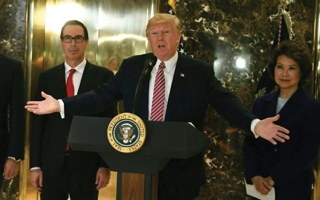 Gives a pass to neo-Nazis? President Trump at his post-Charlottesville press conference at Trump Tower. Getty Images