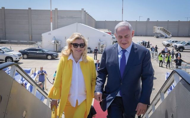Israeli Prime Minister Benjamin Netanyahu and wife Sara on a two-day state official visit to Greece in June 2017. JTA