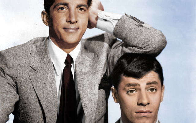 Dean Martin and Jerry Lewis who often performed together in c.1950. Flickr CC/Cassowary Colorizations