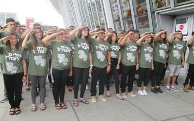 The 68 new immigrants who will soon be Lone Soldiers in Israel pose for a group photo at JFK Airport. They will be serving under the framework of Garin Tzabar, an army program for immigrant Lone Soldiers.  Michele Chabin