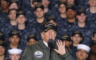 U.S. President Donald Trump speaks to members of the U.S. Navy and shipyard workers on board the USS Gerald R. Ford CVN 78 that is being built at Newport News shipbuilding, on March 2, 2017 in Newport News, Virginia. Getty Images