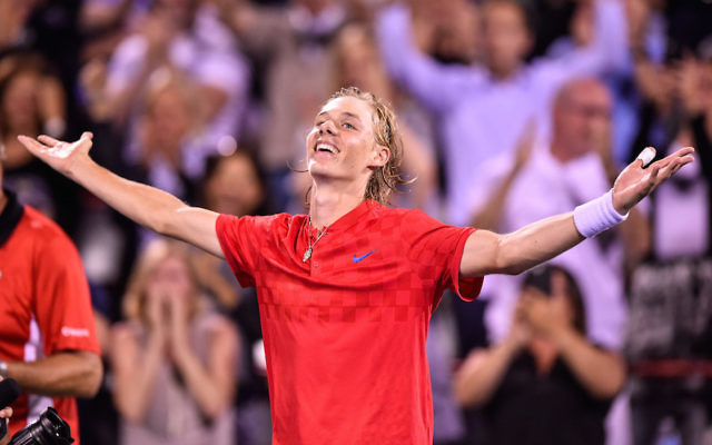 Denis Shapovalov of Canada celebrating his victory over Rafael Nadal of Spain during day seven of the Rogers Cup presented by National Bank at Uniprix Stadium in Montreal, Aug. 10, 2017. Getty Images