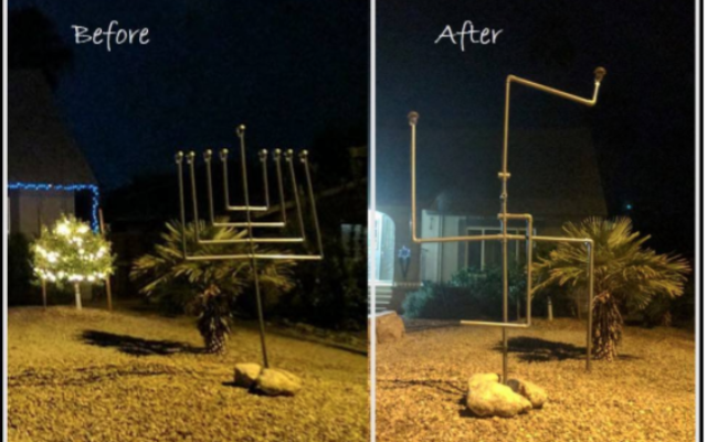 Three teens pleaded guilty to criminal damaging charges for twisting a large decorative menorah in the front yard of an Arizona family's home into a swastika. Screenshot via Twitter/@JulieZauzmer