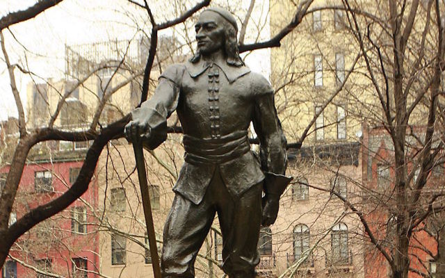 The Peter Stuyvesant statue in New York City stands in a Manhattan square named for him. Requests have been made to remove the statue a JTA