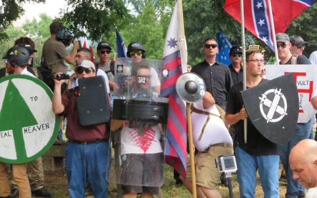 White supremacists meet in Charlottesville, Va. on August 12, 2017. JTA
