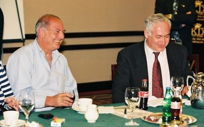 Arthur J. Finkelstein, left, with Benjamin Netanyahu, March 10, 1999. JTA