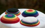 LGBTQ rainbow kippas. Courtesy of 2queerjews: https://www.etsy.com/shop/2queerjews