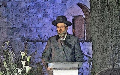 Rabbi speaking from pulpit, JOFA/Oren Herschander (@OddlyOren).