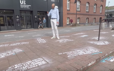 Shahak Shapira spray-painted insulting tweets on the ground at Twitter's Berlin headquarters. JTA