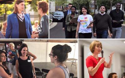 Clockwise from top left: Elissa Slotkin, in blue jacket; Hannah Risheq, in white shirt; Laura Moser; Lisa Mandelblatt, in black shirt.