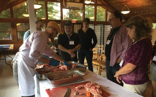 Ian Herztark de-bones and trims some beef to be served over Shabbat at the food conference.  Shira Hanau/JW