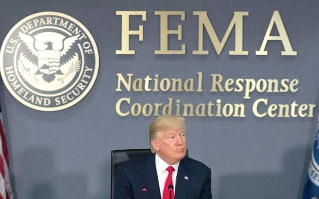 President Donald Trump visiting Federal Emergency Management Agency (FEMA) headquarters in Washington, D.C., last month. Getty Images