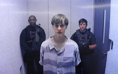 Dylann Roof at a bond hearing via a video uplink, June 19, 2015. (Grace Beahm/Pool/Getty Images)