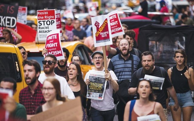 A post-Charlottesville march against white nationalism in New York. Another is set for Washington on Saturday. Getty Images